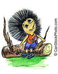 Thoughtful hedgehog sits on a log