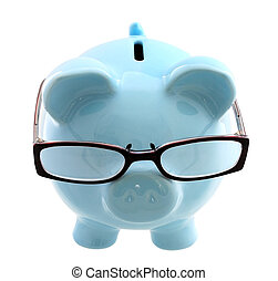 Thoughtful Investor - Piggy bank wearing spectacles - a...