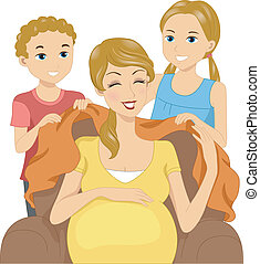 Thoughtful Kids - Illustration of Kids Giving Their Mom a...