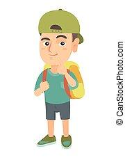 Caucasian little boy with school bag thinking.