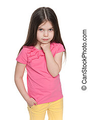 Thoughtful little girl - A portrait of a thoughtful little ...