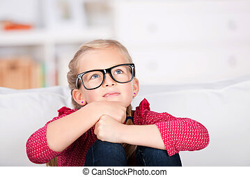 Thoughtful Little Girl With Big Glasses