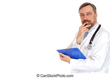 Thoughtful male doctor in his office