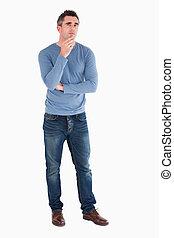 Thoughtful man posing