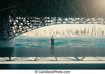 Thoughtful man under bridge