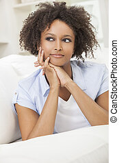 Thoughtful Mixed Race African American Girl Young Woman