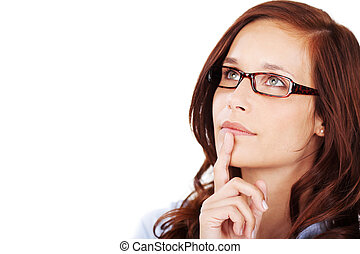 Thoughtful pensive young woman - Head portrait of an...