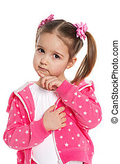A thoughtful preschool girl in pink on the white background