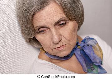 Thoughtful sad elderly woman - Portrait of thoughtful sad ...