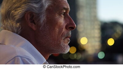 Thoughtful senior man in the city 4k - Close-up of...