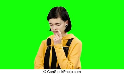 Thoughtful teenager reflects on the theorem. Green screen -...