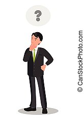 Thoughtful thinking of a young businessman. Question mark icon in the thought bubble.