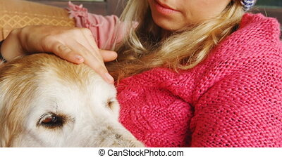Thoughtful woman stroking her dog on sofa at home 4k -...