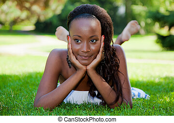 Thoughtful young african american girl