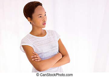 thoughtful young african woman