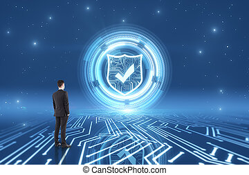 Cyberspace and safety concept