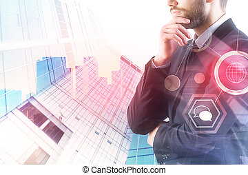 Technology, communication and finance concept