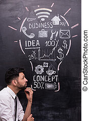 Thoughtful young businessman with painted lightbulb on chalkboard