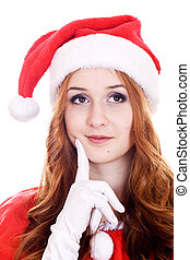 Thoughtful young Christmas woman - Thoughtful young woman in...