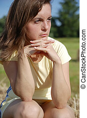 Thoughtful young woman
