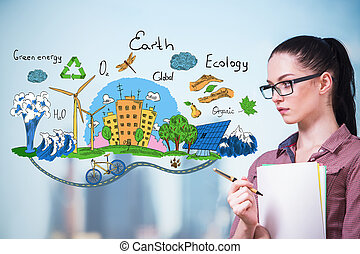 Ecology concept - Thoughtful young woman with eco sketch on...
