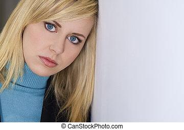 Thoughtfully Beautiful - Studio shot of a beautiful blond ...