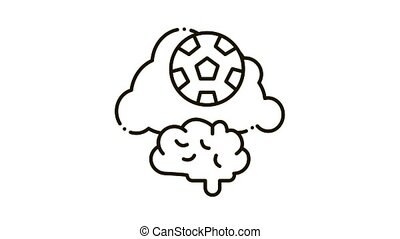 Thoughts about Football Icon Animation. black Thoughts about Football animated icon on white background
