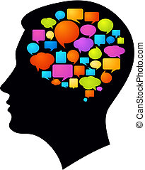 Black profile with many colorful thought bubbles