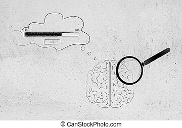 brain with magnifying glass on it and comic bubble with...