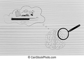 brain with magnifying glass on it with comic bubble with...