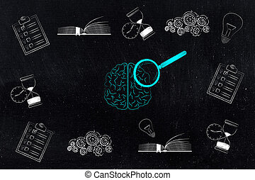 brain with magnifying glass surrounded by memory-related...