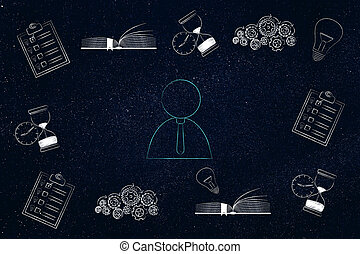 business man surrounded by memory-related icons from to do...