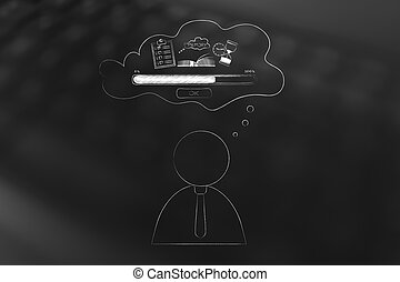 business man with comic bubble with Memory Loading icon made...