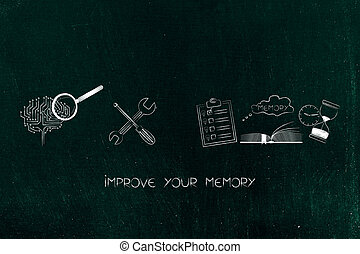 digital brain next to wrench and memory icon made of book to...