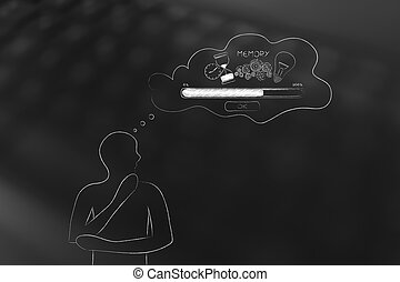 doubtful man with comic bubble with Memory Loading icon made...