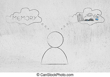 man with comic bubbles with Memory text and icon made of...