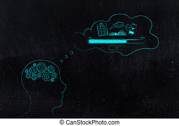 person with gearwheel mind with Memory Loading icon made of...