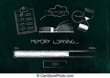 progress bar loading with memory icon made by book with to...