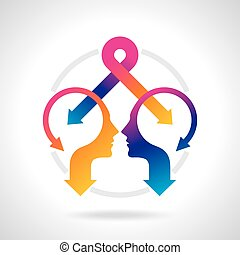 Thoughts and options. vector illustration of head with arrow