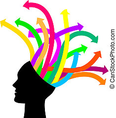 Thoughts and options - vector illustration of head with arrows