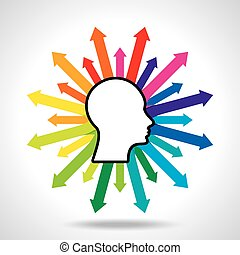Thoughts and options. vector illustration of head with...