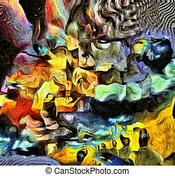 Thoughts - Complex surreal painting. Men with different...