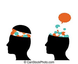 thoughts, dorůstající, aut, o, mozek