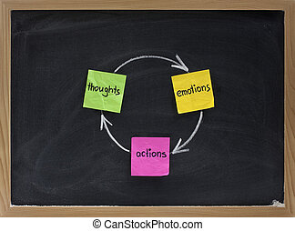 thoughts, emotions, actions cycle presented on blackboard ...