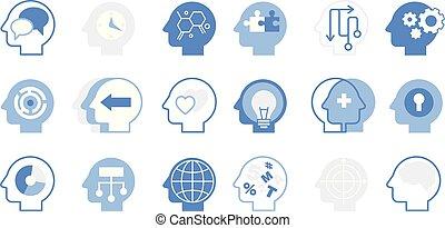 Thoughts inside head big set, creative human mind vector illustration