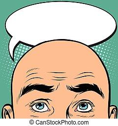 Thoughts men bald head, pop art retro vector