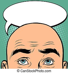 Thoughts men bald head, pop art retro vector