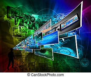 Thoughts of high technology - Abstract symbolizing the...