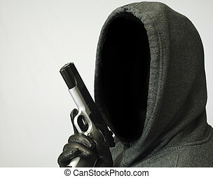 Thoughts of Violent Crime - Hooded man points handgun