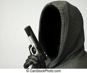 Thoughts of Violent Crime - Hooded man points handgun